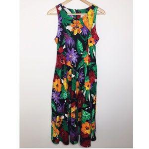 Vintage Eber Hawaiian sleeveless midi dress
